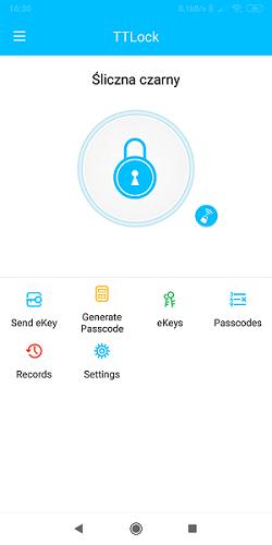 aplikacja TTlock ekran zamka